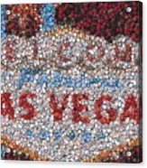 Las Vegas Sign Poker Chip Mosaic Acrylic Print