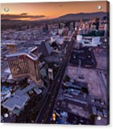 Las Vegas Strip Aloft Acrylic Print