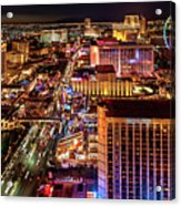 Las Vegas Strip North View Night 2 To 1 Ratio Acrylic Print