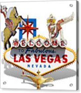 Las Vegas Symbolic Sign On White Acrylic Print