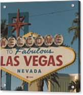 Las Vegas Welcome Sign With Vegas Strip In Background Acrylic Print