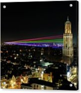 Laser Beams On The Dom Tower In Utrecht 23 Acrylic Print
