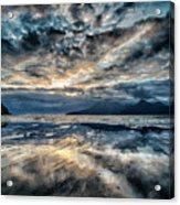 Last Light Isle Of Rum From Isle Of Eigg Acrylic Print