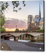 Last Light On Notre Dame De Paris Acrylic Print