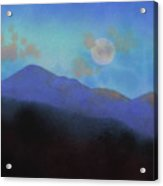 Last Light With Moonrise Over Iron Mountain Acrylic Print