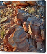 Last Sunlight On Jagged Sandstone In Valley Of Fire Acrylic Print