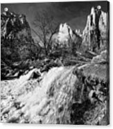 Late Afternoon At The Court Of The Patriarchs - Bw Acrylic Print