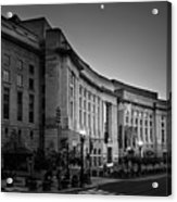 Late Evening At The Ronald Reagan Building In Black And White Acrylic Print