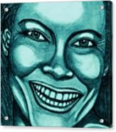 Laughing Girl In Blue 2 Acrylic Print