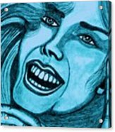Laughing Girl In Blue Acrylic Print