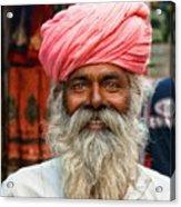 Laughing Indian Man In Turban Acrylic Print