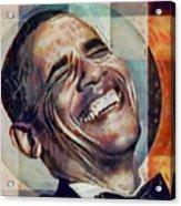 Laughing President Obama V2 Acrylic Print