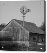 Laurel Road Barn In Black And White Acrylic Print