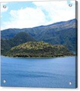 Lava Dome Island In Lake Cuicocha Acrylic Print