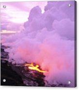 Lava Enters Ocean Acrylic Print