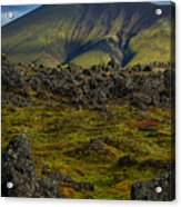 Lava Field And Mountain - Iceland Acrylic Print