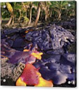 Lava Flow And Palms Acrylic Print
