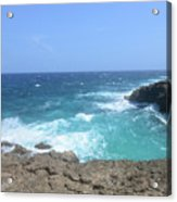 Lava Rock Cliffs And Crashing Ocean Waves In Aruba Acrylic Print