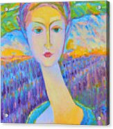 Lavender Lady Art Deco, Decorative Woman Painting, Woman Figure Print For Sale. Pretty Girl Canvas  Acrylic Print