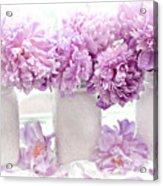 Lavender Peonies White Mason Jars - Romantic Shabby Chic Lavender Purple Peonies Mason Jars Acrylic Print