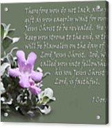 Lavender Sage Blossom I Cor. 1 V 7-9 Acrylic Print