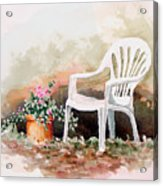 Lawn Chair With Flowers Acrylic Print