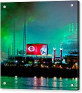 Laser Green Smoke And Reds Stadium Acrylic Print