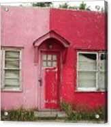Lazy U Motel - Pink And Red Acrylic Print