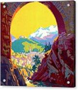 Le Ban, Pyrenees, France, Old Bridge Acrylic Print