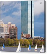 Lean Into It- Sailboats By The Hancock On The Charles River Boston Ma Acrylic Print