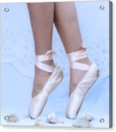 Learning To Walk In Dance World With Pink Pointe Shoes Acrylic Print