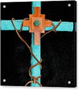 Leather And Stone Cross Acrylic Print