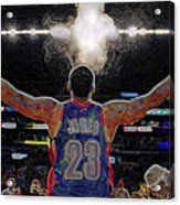 Lebron James Chalk Toss Basketball Art Landscape Painting Acrylic Print