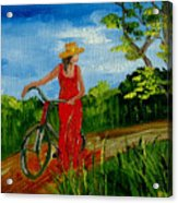 Ledy With The Bike Acrylic Print