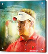 Lee Westwood Winning The Portugal Masters 2009 Acrylic Print