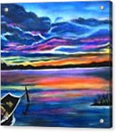 Left Alone A Seascape Boat Painting At Sunset  Acrylic Print