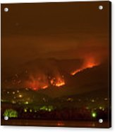Lefthand Canyon Wildfire Night Time View Acrylic Print