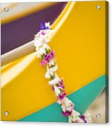 Lei Draped Over Outrigger Acrylic Print by Dana Edmunds - Printscapes