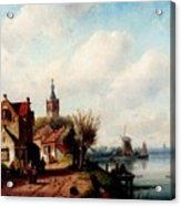 Leickert Charles A Village Along A River A Town In The Distance Acrylic Print