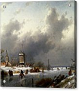 Leickert Charles Henri Joseph A Frozen Winter Landscape With Skaters Acrylic Print