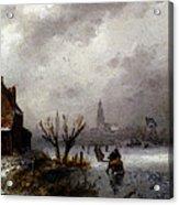 Leickert Charles Henri Joseph Figures On A Frozen Lake Acrylic Print