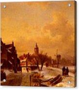 Leickert Charles Henri Joseph Winter And Summer Canal Scenes Scene  Acrylic Print