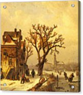 Leickert Charles Skaters In A Frozen Winter Landscape Acrylic Print
