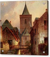 Leickert Charles View In A German Village With Washerwomen Acrylic Print