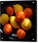 Lemons And Oranges On A Platter Acrylic Print