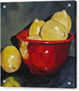 Lemons And Red Bowl IIi Acrylic Print