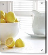 Lemons In Large Bowl On Table Acrylic Print