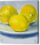 Lemons On A White Plate Acrylic Print
