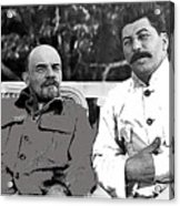 Lenin And Stalin Circa 1923 Color And Drawing Added 2016    Acrylic Print