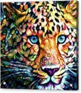 Leopard Cat Flowers Acrylic Print